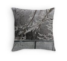 Ice sickles on trees Throw Pillow