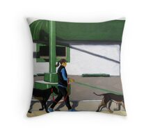 Walking the Dogs - city figurative oil painting Throw Pillow