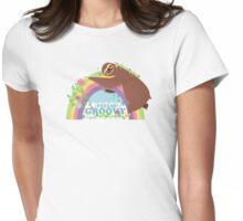 feelin groovy happy rainbow hippie sloth Womens Fitted T-Shirt