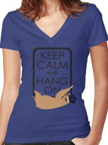 keep calm and hang on happy sloth Women's Fitted V-Neck T-Shirt