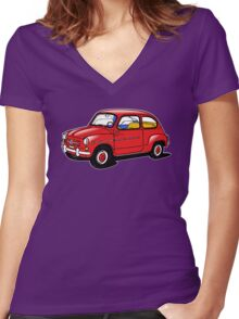 fiat 600 red Women's Fitted V-Neck T-Shirt