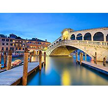 Rialto bridge at night in Venice Photographic Print
