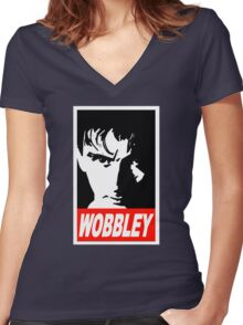 WOBBLEY Women's Fitted V-Neck T-Shirt