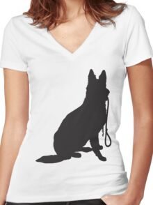 Schnauzer Silhouette Women's Fitted V-Neck T-Shirt