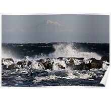 Wild Seas with Mount Baker in the Distance Poster