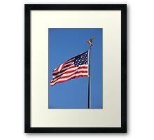 American Flag In The Wind Framed Print