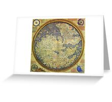 Antique Fra Mauro Map Asia Africa Europe Greeting Card