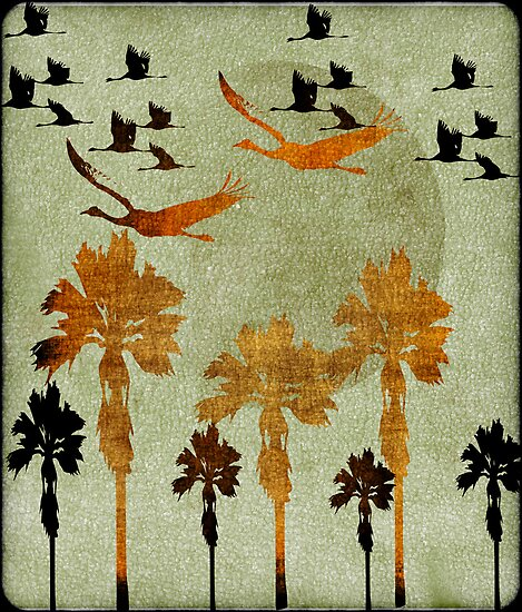 Birds flying over the palm trees by RosiLorz