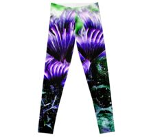 Green and Purple Social Feather Duster  Leggings