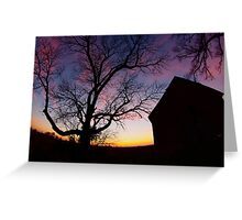 Barn and Tree at Sunset, Indiana Greeting Card