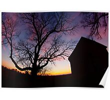 Barn and Tree at Sunset, Indiana Poster