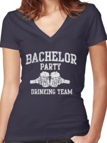 Bachelor Party Drinking Team Women's Fitted V-Neck T-Shirt