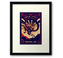 retro mountain bike poster: kick some gravity ass Framed Print