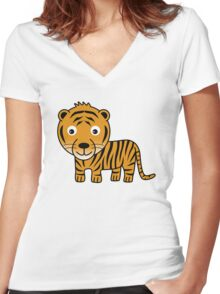 My Day at the Zoo - Tiger Women's Fitted V-Neck T-Shirt
