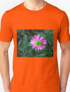 Pink flower on green Unisex T-Shirt