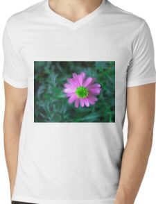 Pink flower on green Mens V-Neck T-Shirt
