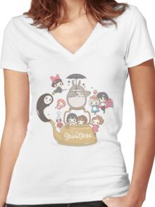 Studio Ghibli Friends Women's Fitted V-Neck T-Shirt