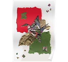 grey, green and red flapping bird Poster