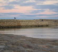 Father and Son on St Andrews Pier by Adrian Wale