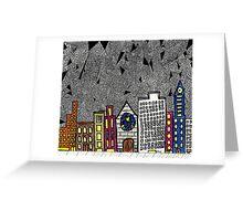 Big City Snow Fall Greeting Card