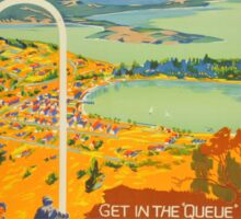 Vintage Queenstown New Zealand Travel Sticker