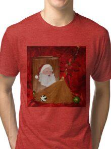 Hand Painted Santa Tray Tri-blend T-Shirt