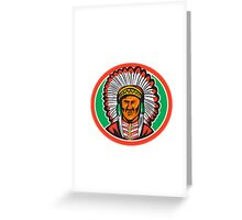 Native American Indian Chief Headdress Greeting Card