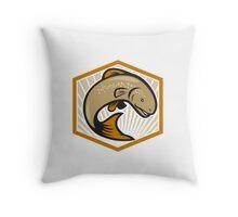 Trout Jumping Cartoon Shield Throw Pillow