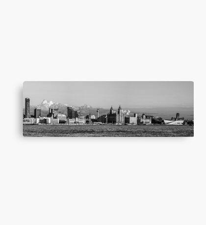 Liverpool skyline black and white Canvas Print
