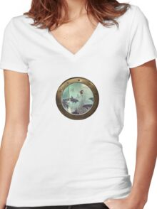 The Sea Unicorn Lady Women's Fitted V-Neck T-Shirt