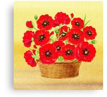 Basket With Red Poppies Canvas Print