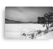 Nederland Colorado Barker Reservoir Winter View BW Canvas Print