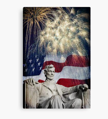 Abraham Lincoln & Fireworks Canvas Print