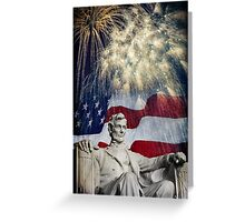 Abraham Lincoln & Fireworks Greeting Card