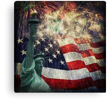Statue of Liberty &  Fireworks Canvas Print