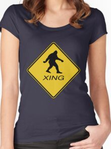 Bigfoot Crossing Sign  Women's Fitted Scoop T-Shirt