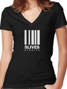 5 Lives Studios White Women's Fitted V-Neck T-Shirt