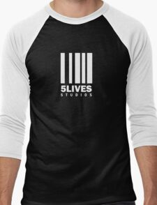 5 Lives Studios White Men's Baseball ¾ T-Shirt
