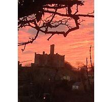 Sunset over warkworth castle northumberland Photographic Print