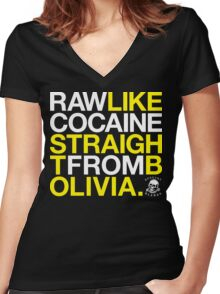 Raw Like Cocaine (v1) Women's Fitted V-Neck T-Shirt