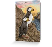 Puffins on Sunset Cliff Greeting Card