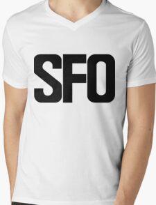 SFO San Francisco International Airport Black Ink Mens V-Neck T-Shirt