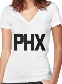 Phoenix Sky Harbor International Airport Black Ink Women's Fitted V-Neck T-Shirt