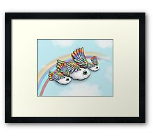 Happy Little Flying Clouds Blue Framed Print