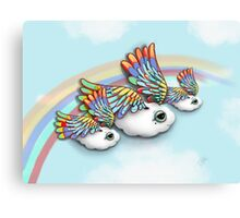 Happy Little Flying Clouds Blue Canvas Print