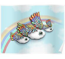 Happy Little Flying Clouds Blue Poster