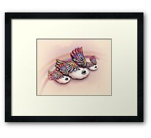 Happy Little Flying Clouds Pink Framed Print