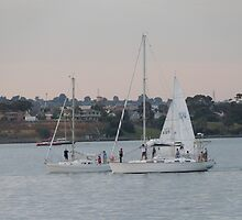 Time to come in! Practice sail, Twilight, Geelong Waterfront. by Rita Blom