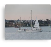 Time to come in! Practice sail, Twilight, Geelong Waterfront. Canvas Print