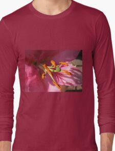 Sunlit Pink Lily in Macro Long Sleeve T-Shirt